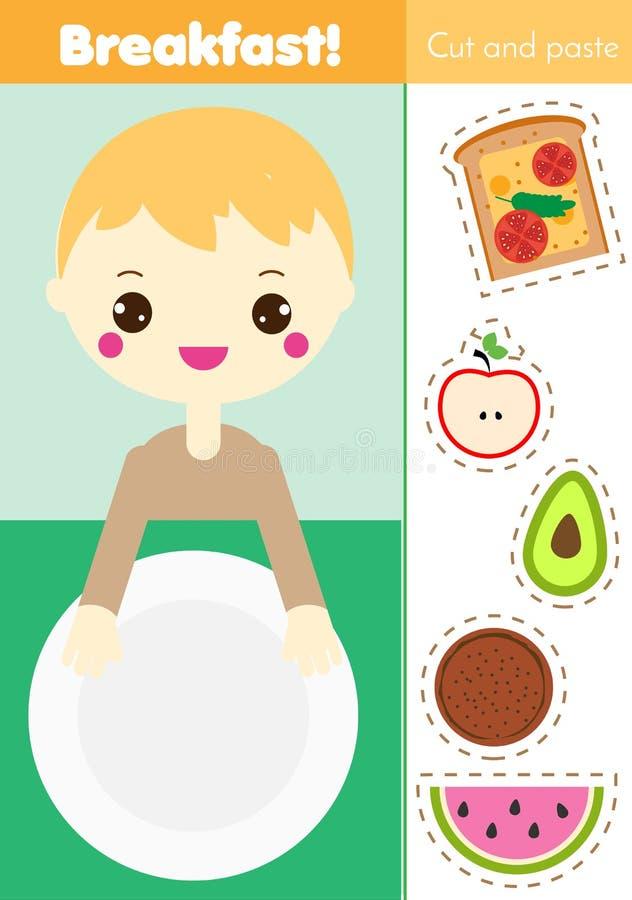 Juego educativo de los niños del cortar y pegar Actividad de papel del corte Haga una comida de desayuno con pegamento Hoja de tr stock de ilustración