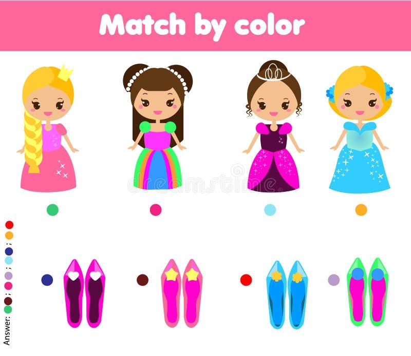 Juego educativo de los niños a juego Embroma actividad Partido por color ilustración del vector