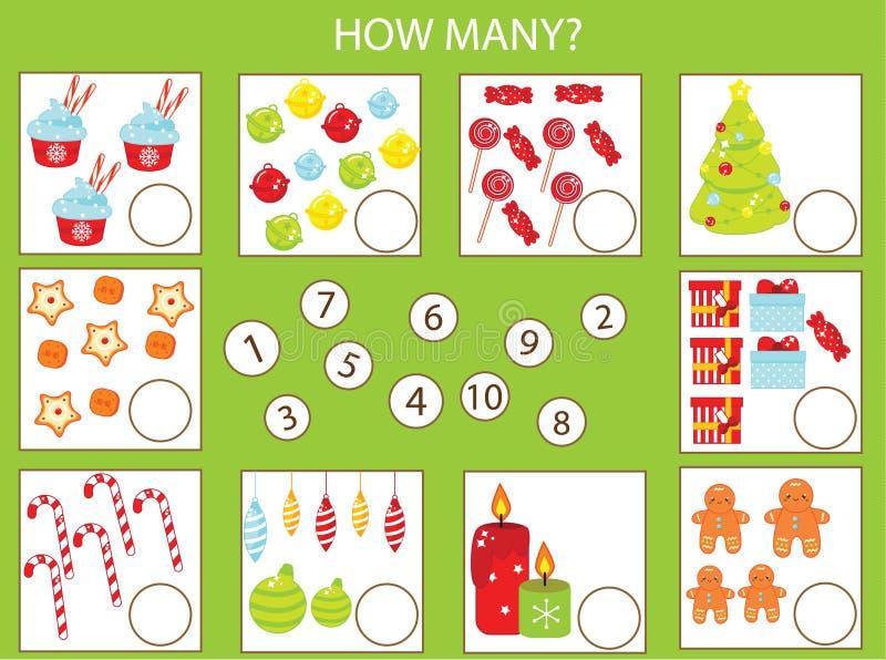 Juego educativo de los niños de las matemáticas, actividad de los niños Cuántos objetos encargan Tema del Año Nuevo y de la Navid ilustración del vector