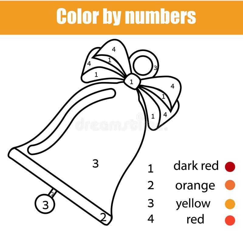 Juego educativo de los niños Página que colorea con la campana de la Navidad libre illustration