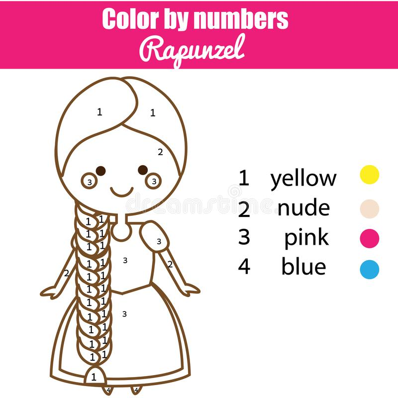Juego educativo de los niños Página que colorea con la princesa de Rapunzel libre illustration