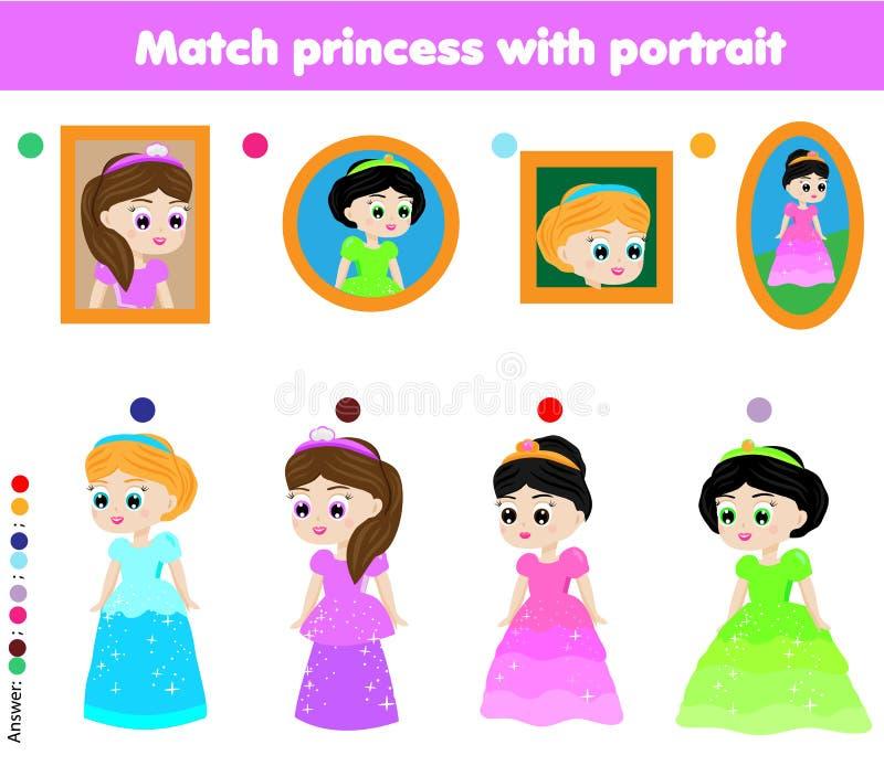 Juego educativo de los niños Pares a juego Princesa del partido con el retrato stock de ilustración
