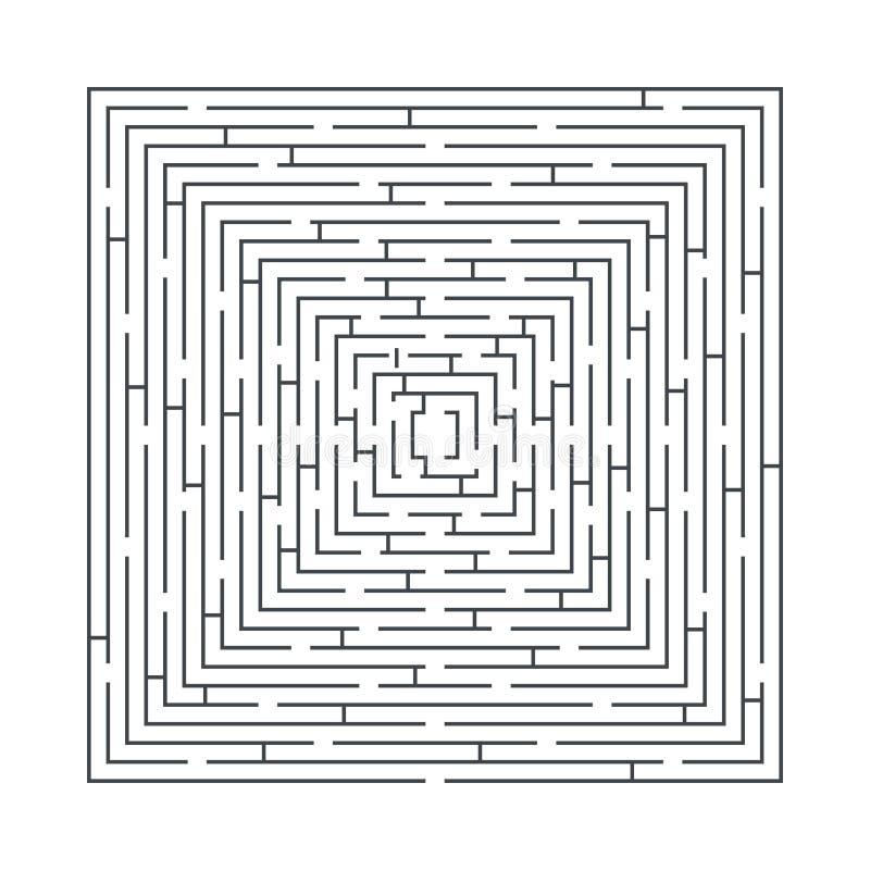 Juego educativo del laberinto difícil y largo bajo la forma de cuadrado ilustración del vector