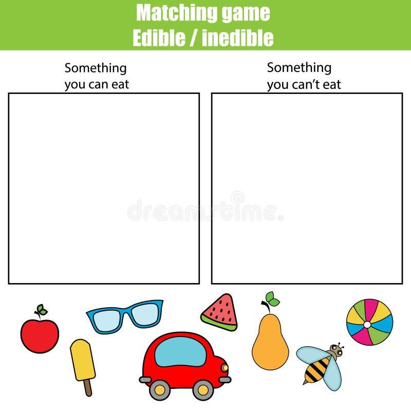 Juego educativo no comestible comestible de los niños, hoja de la actividad de los niños ilustración del vector