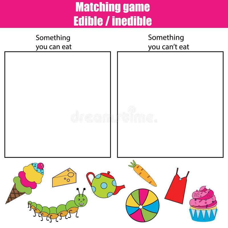 Juego educativo no comestible comestible de los niños, hoja de la actividad de los niños stock de ilustración