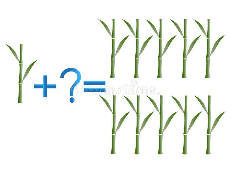 Juego educativo para los niños, adición matemática, ejemplo con el bambú stock de ilustración