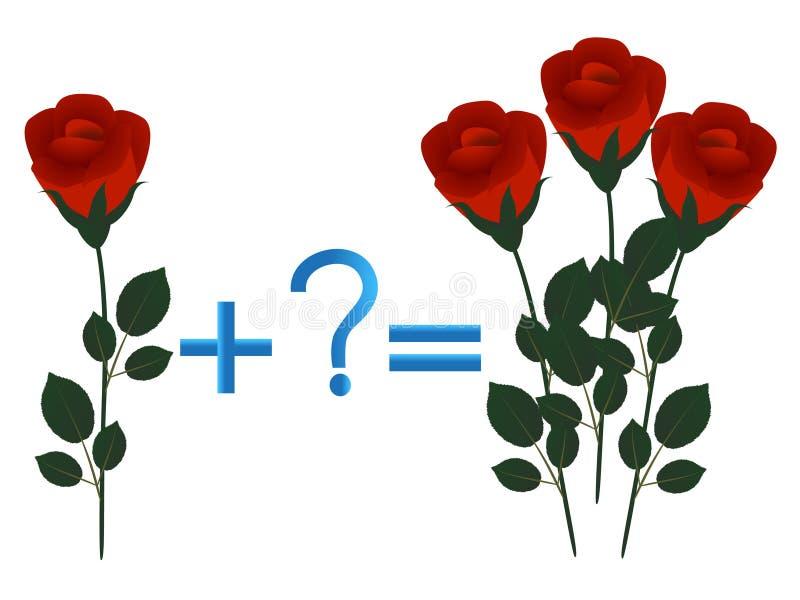 Juego educativo para los niños, adición matemática, ejemplo con las rosas stock de ilustración