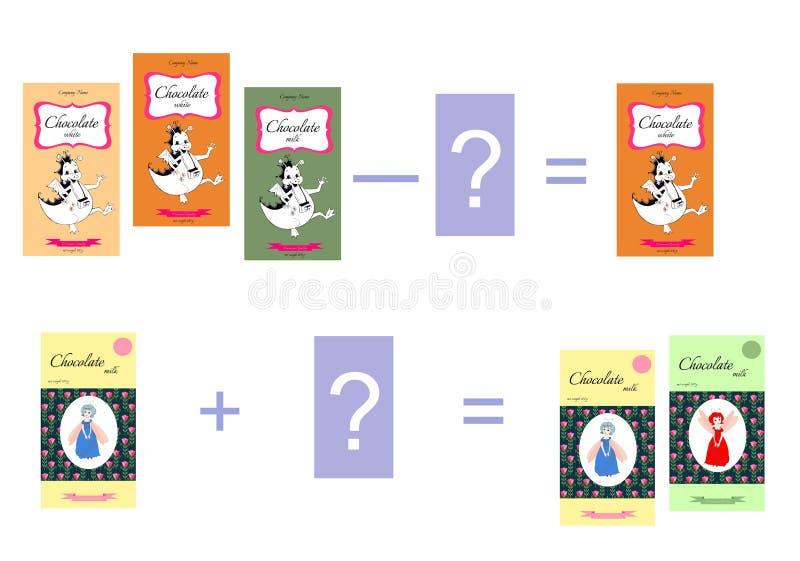 Juego educativo para los niños Adición y substracción matemáticas Ejemplos con el chocolate libre illustration