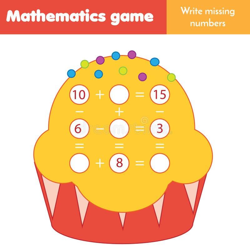 Juego educativo para los niños Cuenta de ecuaciones Substracción y adición del estudio Hoja de trabajo de las matemáticas stock de ilustración