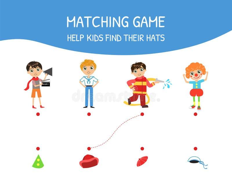 Juego a juego educativo para los niños, niños de la ayuda encontrar su ejemplo del vector de los sombreros stock de ilustración