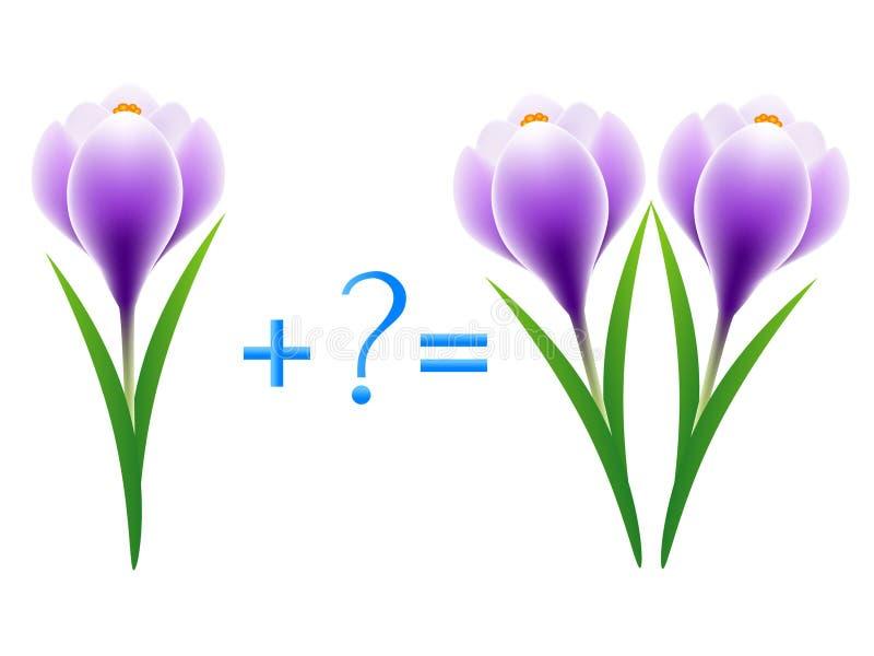 Juego educativo para los niños, ejemplo de la adición matemática, ejemplos con las azafranes stock de ilustración