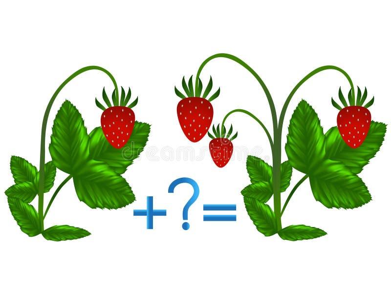 Juego educativo para los niños, ejemplo de la adición matemática, ejemplos con las fresas ilustración del vector