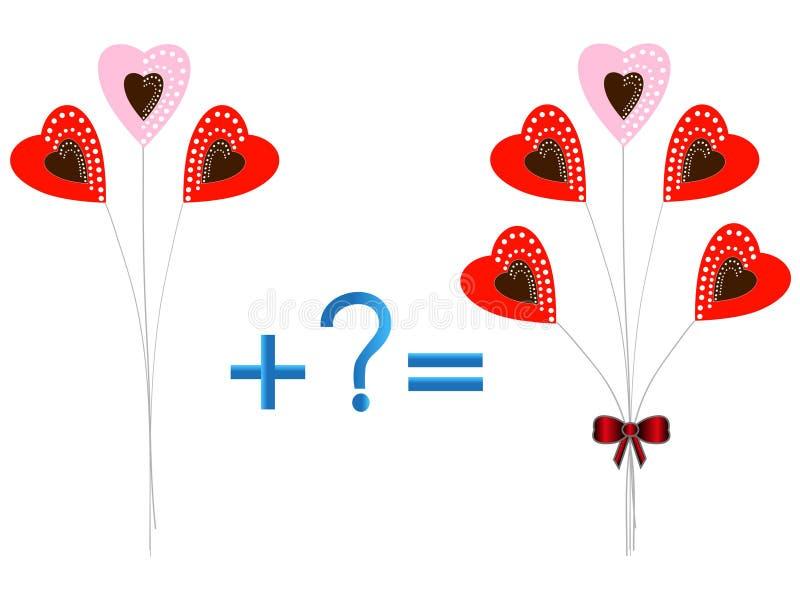 Juego educativo para los niños, ejemplo de la adición matemática, ejemplos con los corazones libre illustration