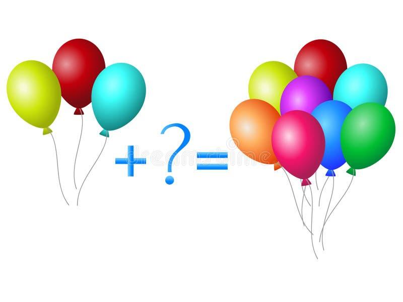 Juego educativo para los niños, ejemplo de la adición matemática, ejemplos con los globos ilustración del vector
