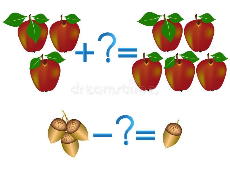 Juego educativo para los niños, ejemplo de la adición matemática y substracción ilustración del vector