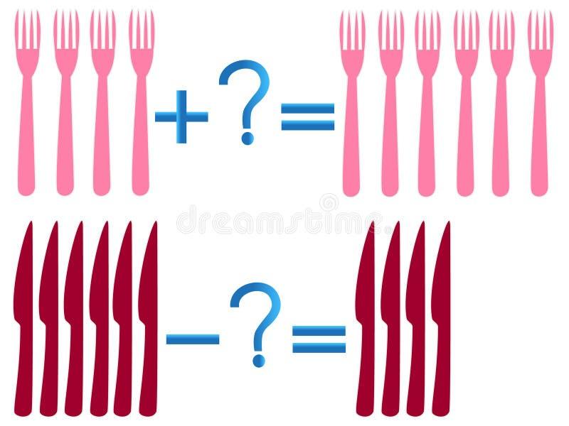 Juego educativo para los niños, ejemplo de la adición y de la substracción matemáticas, ejemplos con las bifurcaciones y cuchillo libre illustration