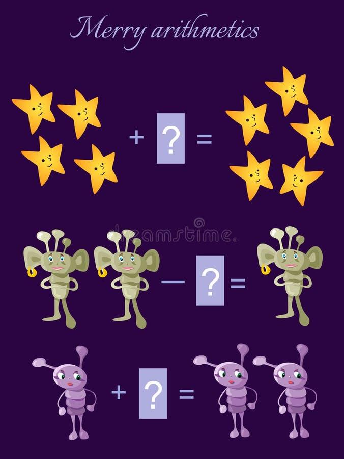 Juego educativo para los niños Ejemplo de la historieta de la adición y de la substracción matemáticas libre illustration