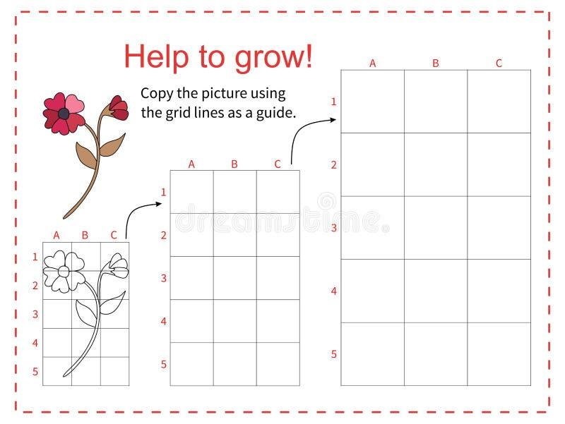 Juego educativo para los niños - flor roja de la ayuda a crecer - copia la imagen usando la rejilla Ilustración del vector libre illustration