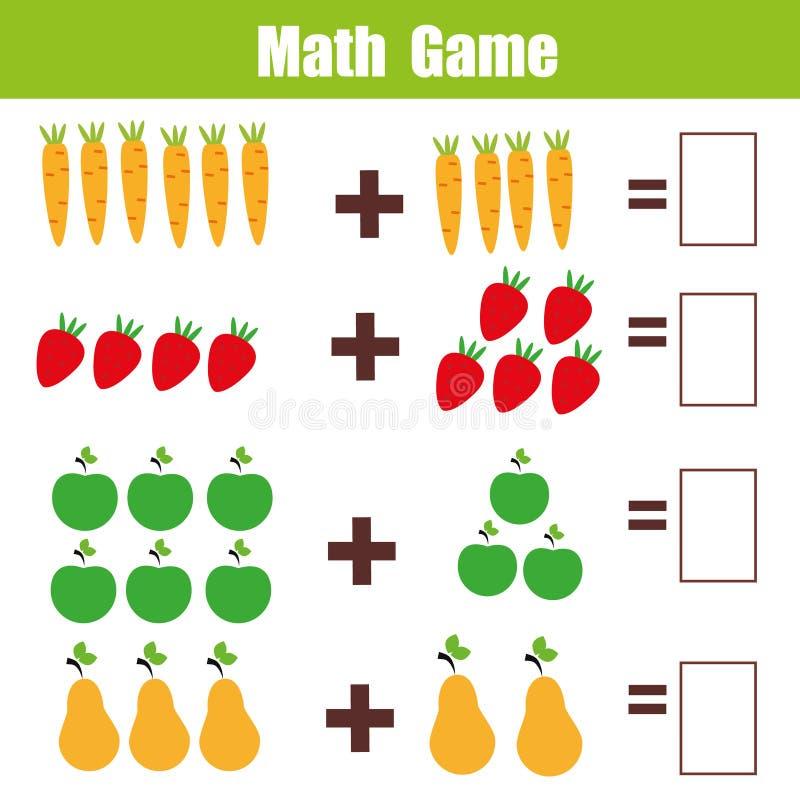 Juego educativo para los niños, hoja de trabajo de la matemáticas de las matemáticas de la adición libre illustration