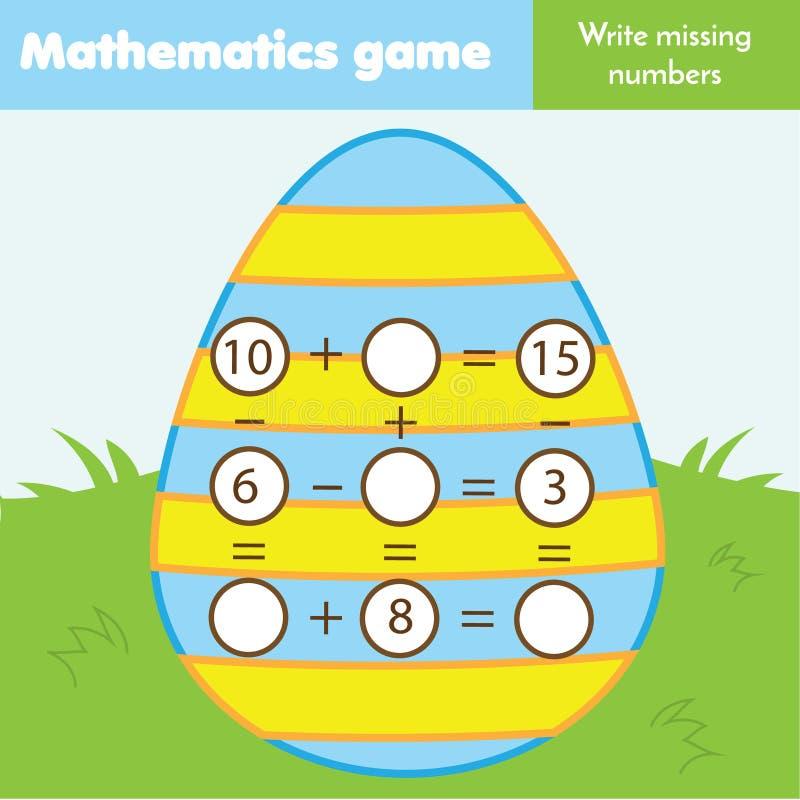 Juego educativo para los niños Termine las ecuaciones Substracción y adición del estudio Hoja de trabajo de las matemáticas del t libre illustration