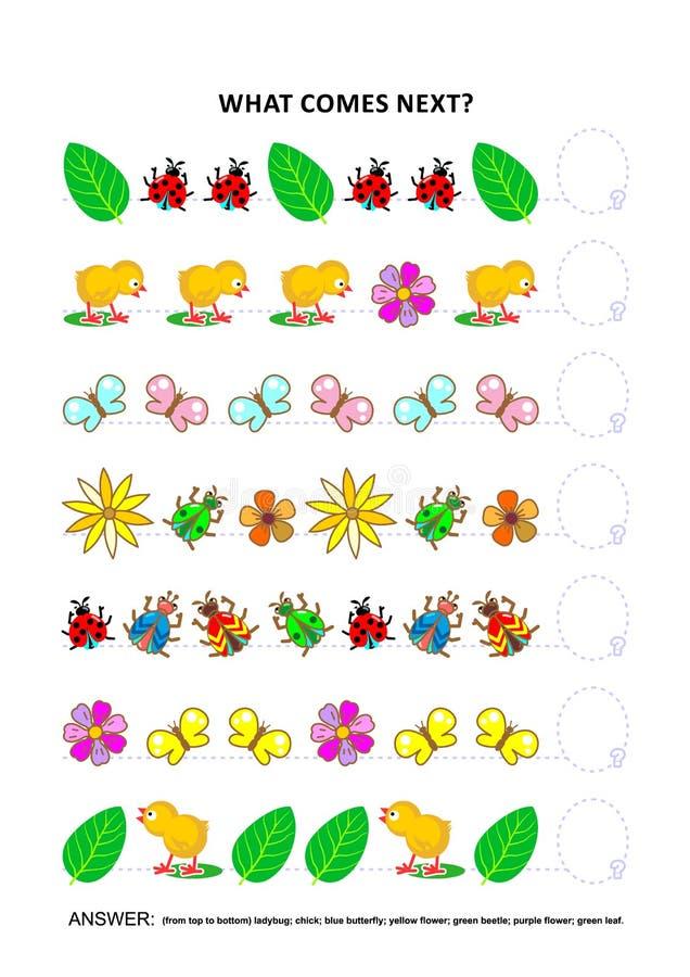 Juego educativo temático de la lógica de la primavera o del verano - reconocimiento de patrones secuencial libre illustration