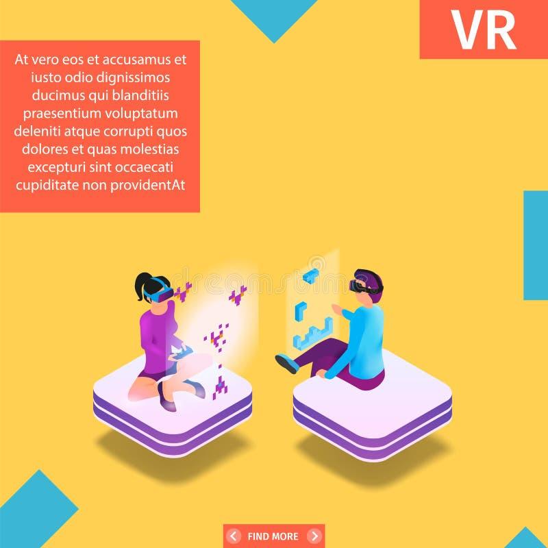 Juego en bandera aumentada del cuadrado de la realidad virtual ilustración del vector