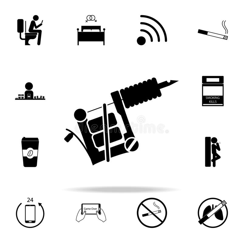 juego en el icono del teléfono Sistema universal de los malos iconos de los habbits para el web y el móvil stock de ilustración