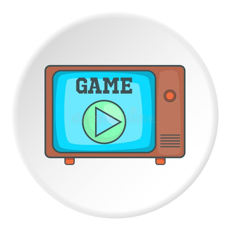 Juego en el icono retro de la TV, estilo de la historieta ilustración del vector