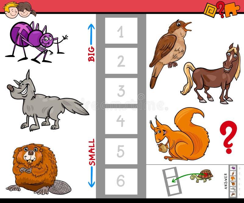 Juego grande y pequeño de la actividad de la historieta de los animales libre illustration