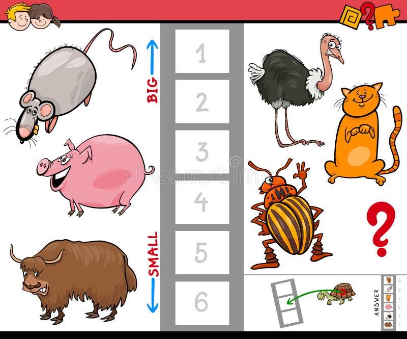 Juego grande y pequeño de la historieta de los animales para los niños libre illustration