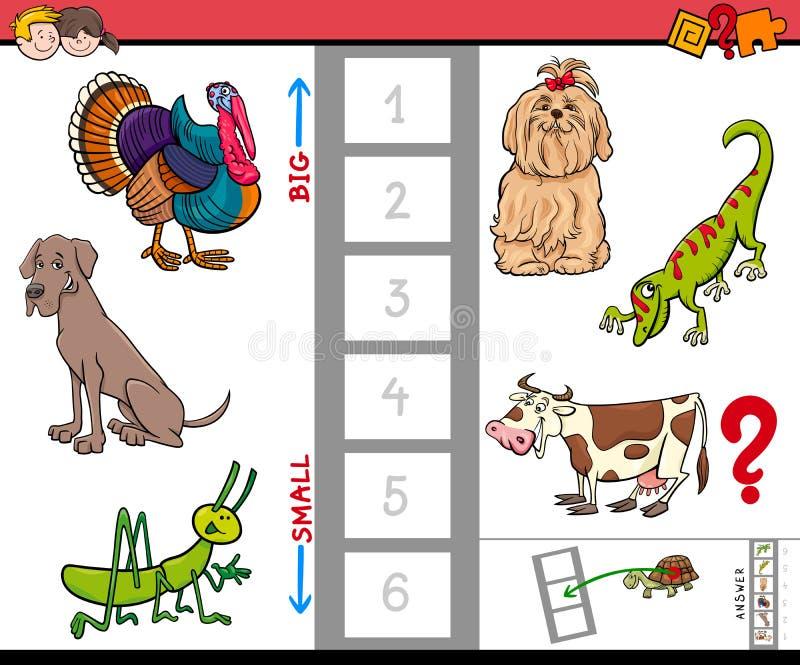Juego grande y pequeño de los animales para los niños stock de ilustración