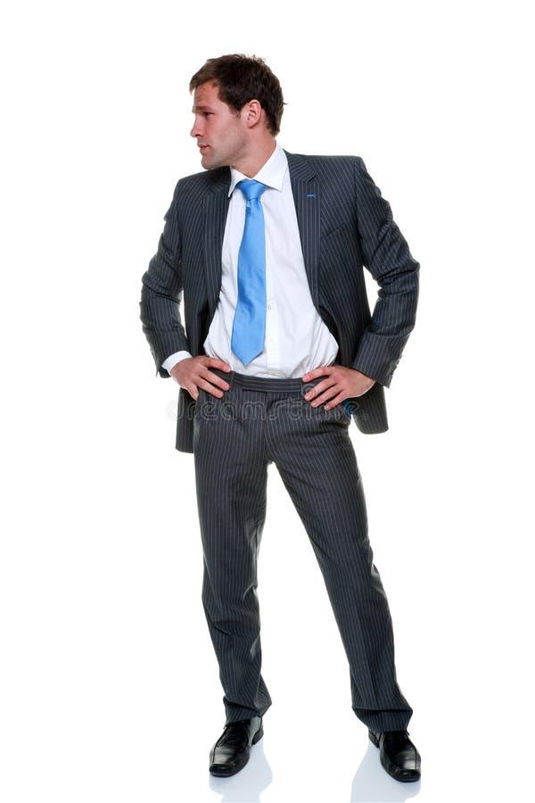 Juego gris de la tela a rayas del hombre de negocios aislado foto de archivo
