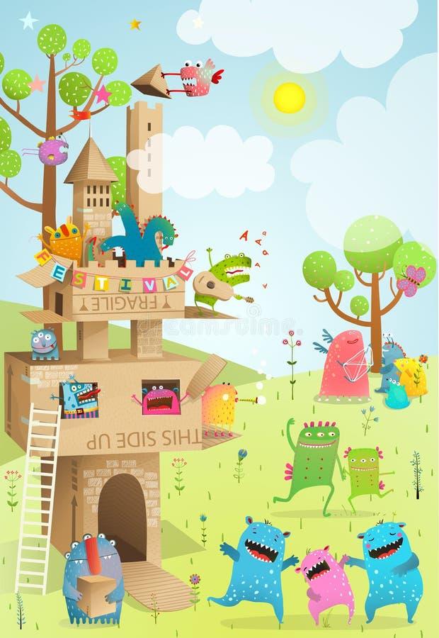 Juego hecho a mano del verano de los niños de la cartulina del castillo stock de ilustración