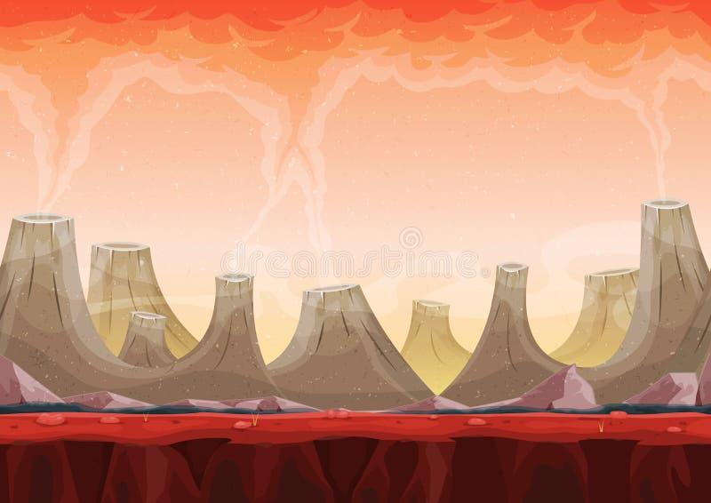 Juego inconsútil de Volcano Planet Landscape For Ui stock de ilustración