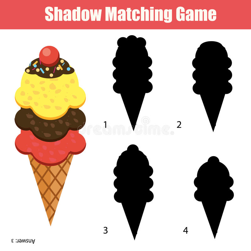 Juego a juego de la sombra Tema de la Navidad, niños actividad, hoja de trabajo ilustración del vector