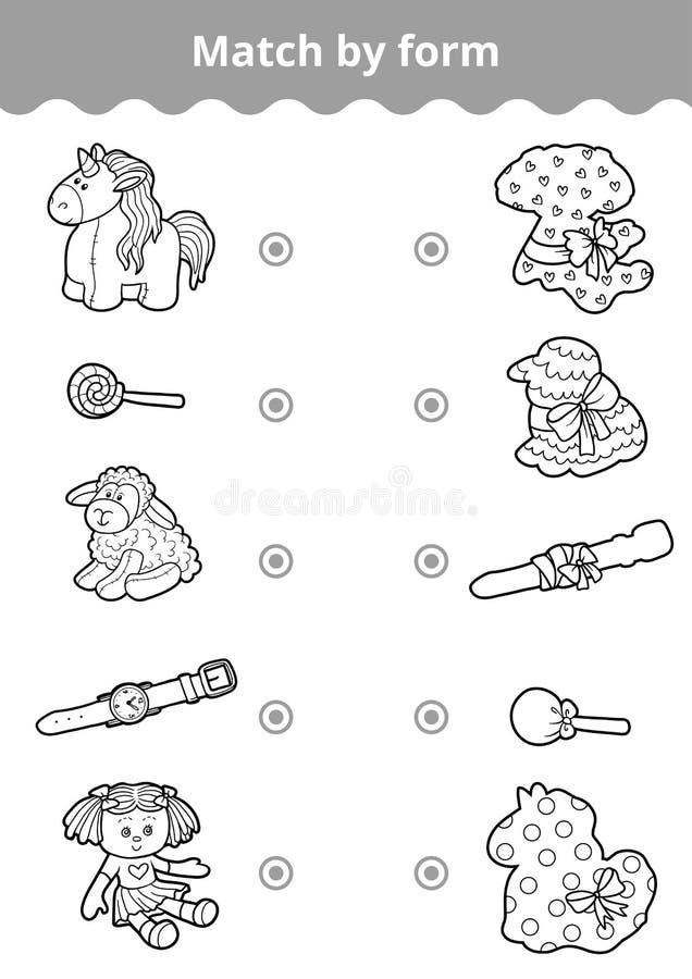 Juego a juego, juego de la educación para los niños Conecte los juguetes del ` s de la muchacha ilustración del vector