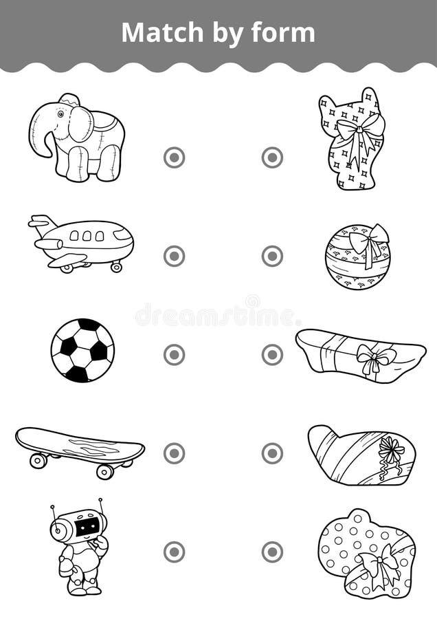Juego a juego, juego de la educación para los niños Conecte los juguetes a del ` s del muchacho stock de ilustración