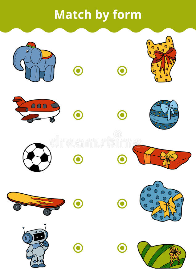 Juego a juego, juego de la educación para los niños Conecte los juguetes a del ` s del muchacho ilustración del vector