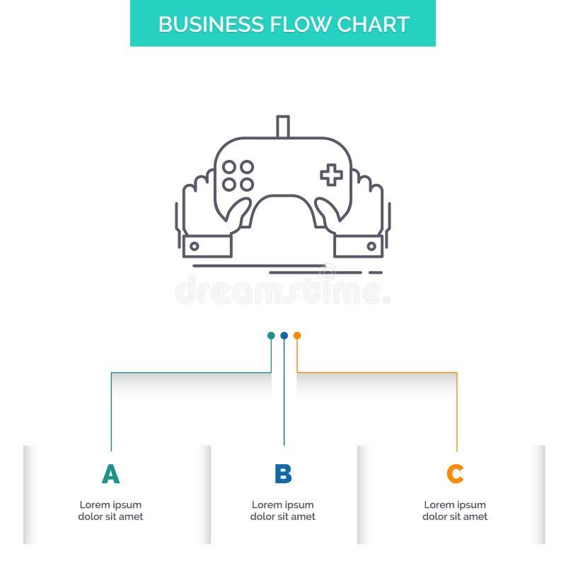 juego, juego, móvil, entretenimiento, diseño del organigrama del negocio del app con 3 pasos L?nea icono para la plantilla del fo libre illustration
