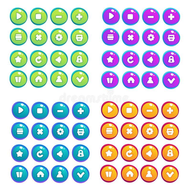 Juego móvil UI, colección del vector de iconos, y botones, historieta libre illustration