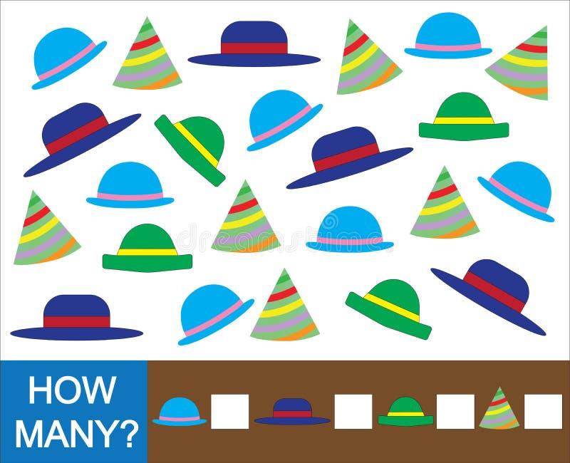 Juego matemático educativo para los niños Cuente cuánto sombrero ilustración del vector