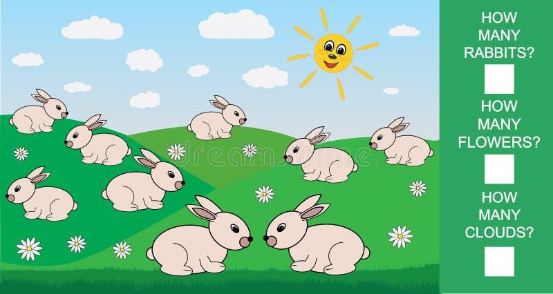 Juego matemático educativo para los niños Cuente cuántos conejos, flores, nubes Ilustración del vector stock de ilustración