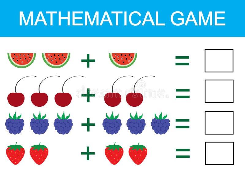 Juego matemático para los niños Aprendiendo la adición para los niños, contando actividad Ilustración del vector libre illustration
