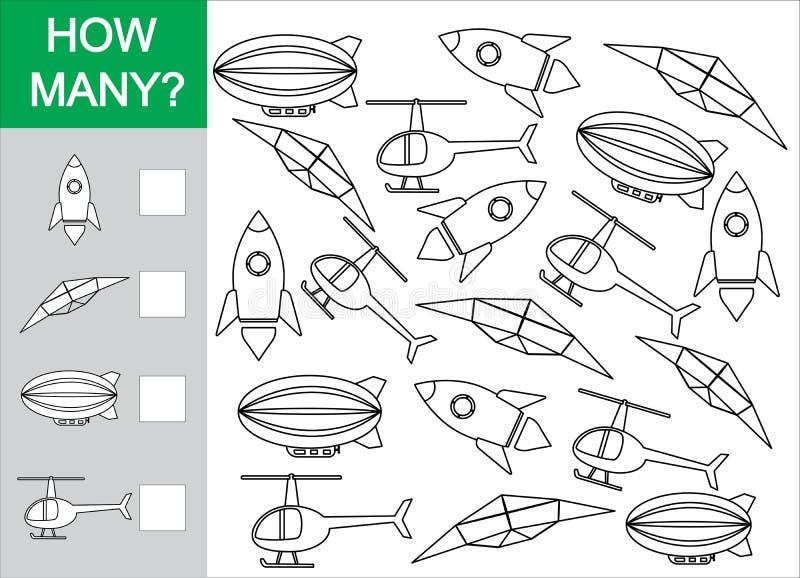 Juego matemático para los niños Cuente cuánto se opone el transporte aéreo libre illustration