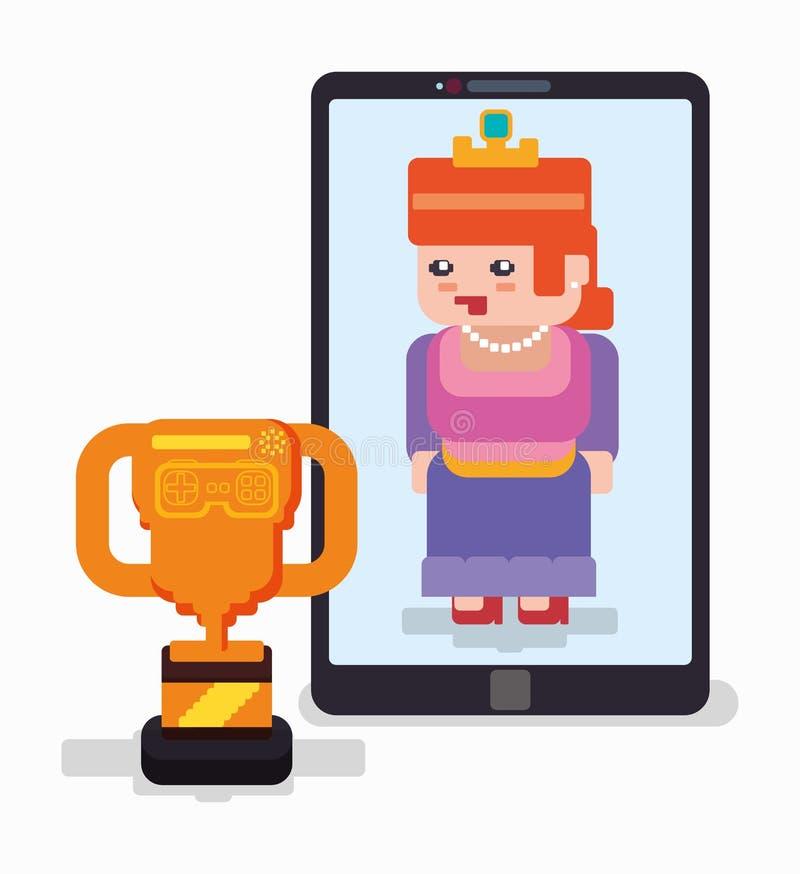 Juego online del trofeo de la princesa de Smartphone ilustración del vector