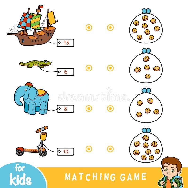 Juego a juego para los niños, sistema de la educación de juguetes ilustración del vector