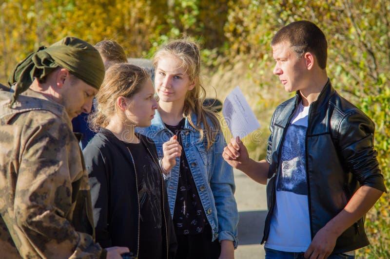 Juego paramilitar turístico para los estudiantes en Rusia imagen de archivo libre de regalías