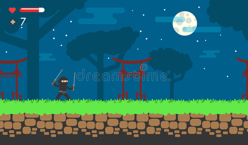Juego plano sobre el ninja para el androide Juego de destello en línea Fondo japonés para el nivel ilustración del vector