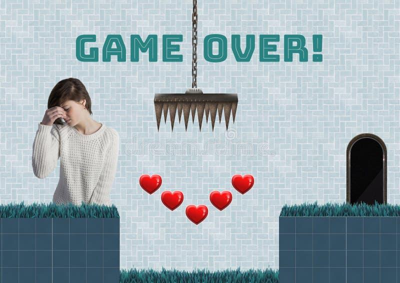 Juego sobre el texto y la mujer en nivel del juego de ordenador con los corazones y las trampas fotos de archivo libres de regalías