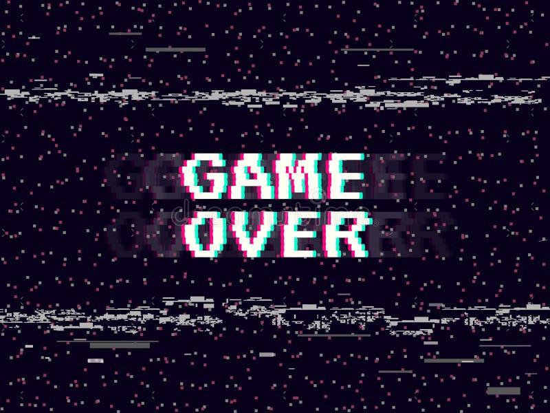 Juego sobre fondo de la interferencia Contexto retro del juego Líneas ruido de Glitched Efecto de VHS para su diseño Inscripción  stock de ilustración